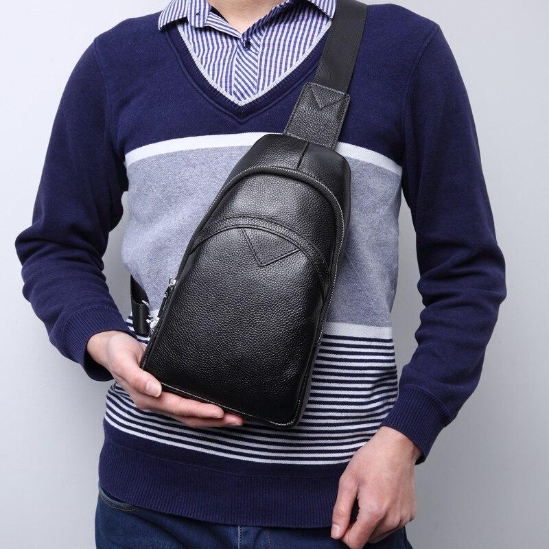 BAQI Men's Crossbody Bag Chest Bag 2019 Fashion Designer Men Messenger bag Cow Leather Shoulder Bag Men Package Back pack Travel