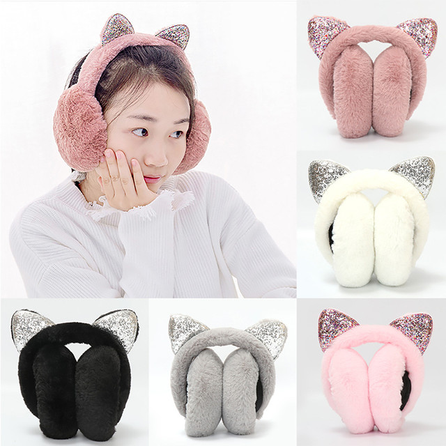 0f6b2110cd0f9 2018 Fashion Women Girl Fur Winter Ear Warmer Earmuffs Cat Ear Muffs Earlap  Glitter Sequin Earmuffs Headband
