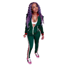 df1dcb1e7b64 Womens Sexy Front Zipper Lolita Style Two Piece Set Long Sleeve Autumn  Winter Green Striped Long Pants Romper Jumpsuit 250149