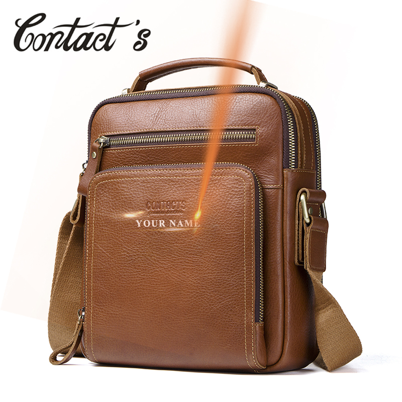 Contact's Men's Travel Bag Casual Men Messenger Bags High Quality Brand Genuine Leather Crossbody Bags For Mini Laptop 2019