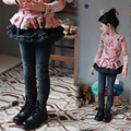 The New Year Spring And Autumn Kids Clothing Casual Jeans Pants, Cartoon Image Girls Fashion Black  Jeans