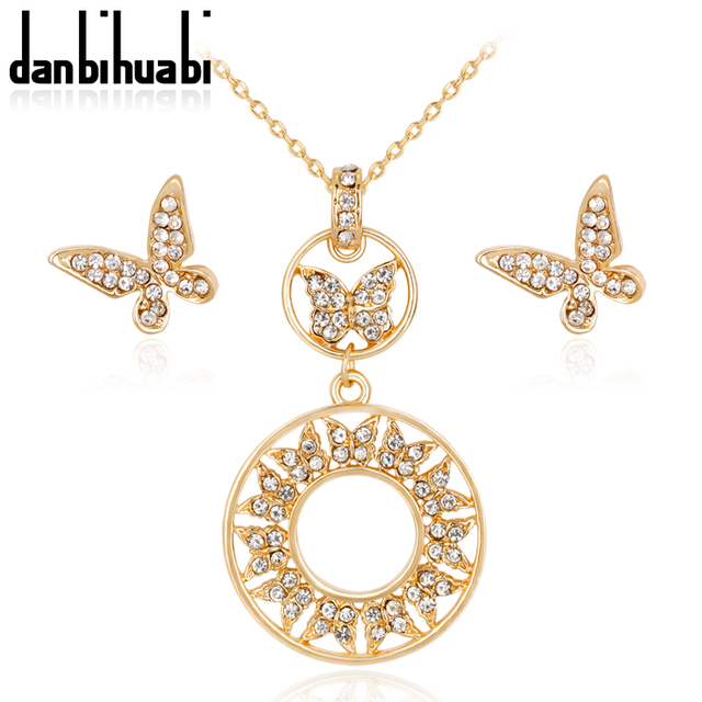 Danbihuabi African Costume Jewelry Sets Gold Color Fashion Necklace Earrings For Women Erfly Crystal