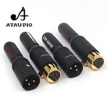 4 шт. ATAUDIO 24 К позолоченный микрофон HIFI XLR штекер Высокое качество Мужской и Женский XLR штекер Адаптер для Diy
