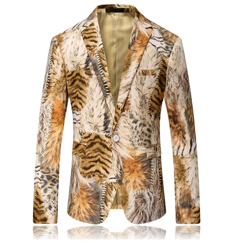 2019 New Tiger Print Blazer Men Slim Fit Pattern Print Suit Jacket Men Prom Blazer For Men Unique Designer Casual Blazer Men