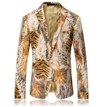 2019 New Tiger Print Blazer Men Slim Fit Pattern Print Suit Jacket Men Prom Blazer For Men Unique Designer Casual Blazer Men men s casual blazer leopard print turndown collar long sleeve slim fit casual suit