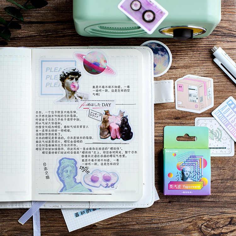 46 قطعة/صندوق لطيف Vaporwave التسمية Kawaii مذكرات اليدوية ورق لاصق تقشر اليابان ملصقا سكرابوكينغ القرطاسية