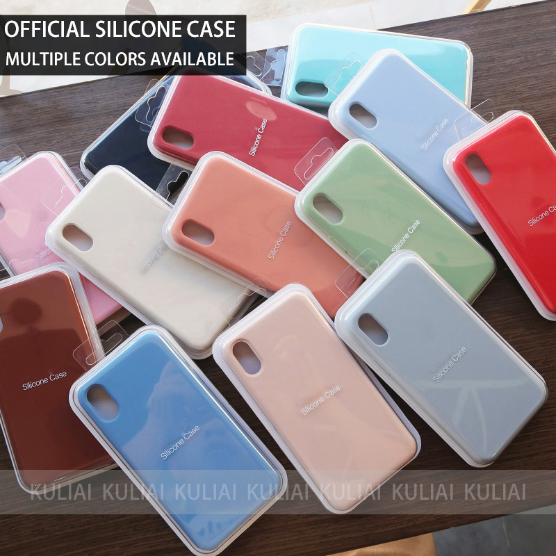 8018a19a192 De Lujo Original oficial de silicona logotipo caso para iPhone 7 8 Plus  para Apple Case para iPhone X XS X Max XR 6 6 S 5 5 5S cubierta Funda