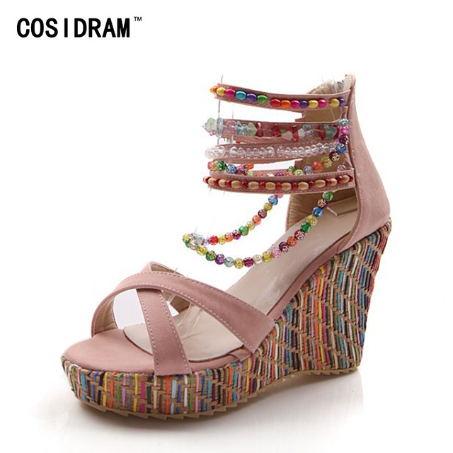 9ad5e25c49962f COSIDRAM New 2018 Summer Fashion Woman Sandals Shoes Bohemian Sandals  Comfortable Sweet Wedge Heels Shoes for