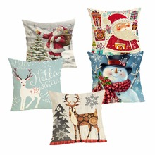 Christmas Cushion Case Decorative Cover 45x45CM Cotton Linen Square Throw Pillow