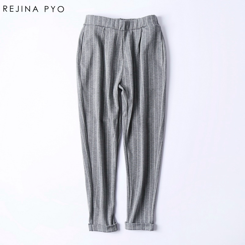 Rejina Pyo Alta calidad alta material elástico rayas Haren pantalones pequeños pies pantalones Mujer Pantalones de Moda Casual