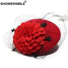 SHOWERSMILE 100% Wool Pillbox Hat With Veil Women Red Vintage Fedora British Ladies Wedding Bride Elegant Female Church