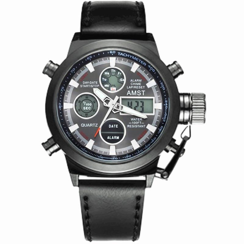 AMST Relojes militares Dive 50M Nylon y correa de cuero Relojes LED - Relojes para hombres - foto 2