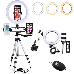 Image 4 - Selfie Video LED Ring Light Portable Photography Dimmable Lamp with Tripod Phone Holder for iPhone 11 12 Pro Max XS Galaxy Plus