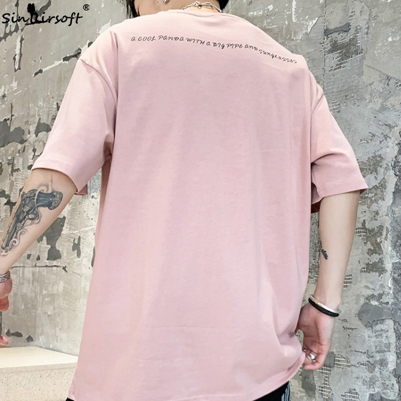 2019 men 39 s cotton casual T shirt O neck short sleeved T shirt male cartoon panda pattern print on clothes summer fashion M XXXL in T Shirts from Men 39 s Clothing