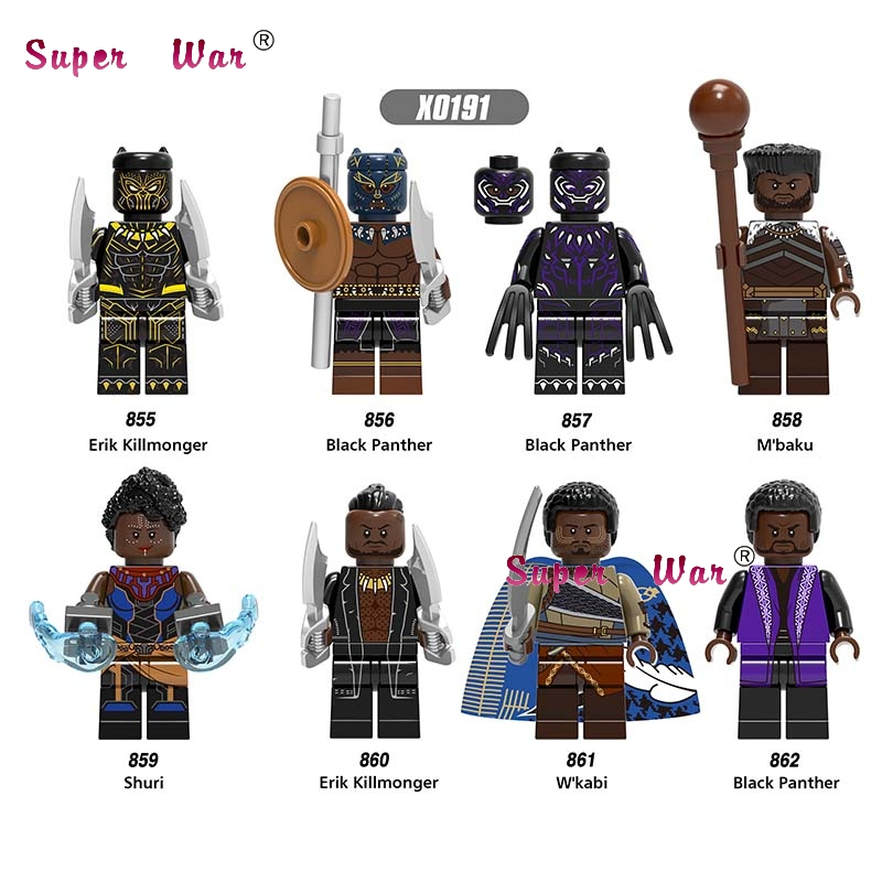 50pcs Marvel Avengers Infinity War Black Panther Erik Kill Shuri W Kabi Man Ape M Baku