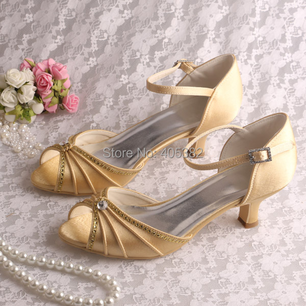 c1cec424b33a Wedopus New Beautiful Ladies Fancy Low Heel Shoes Sandals Evening Party  Gold Satin