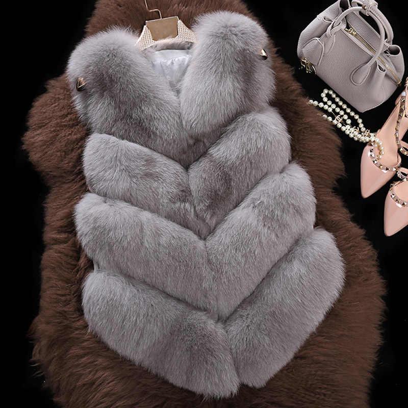 Лисий мех жилет пальто, Женское зимнее теплое пальто из кожи и меха
