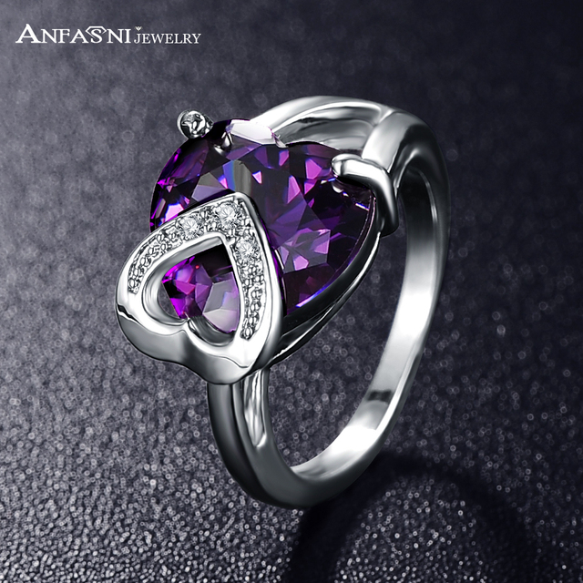 ANFASNI Temperament Double Heart Wedding Ring Silver Color AAA Cubic Zirconia Fo