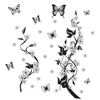 sticker on the fridge black butterfly vine flower wall stickers kitchen decoration decals on the furniture