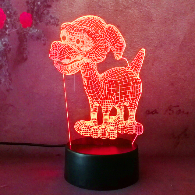 Cute Dog Doggy Puppy Patrol Led Lampara Rc Night Light Desk Table Bedroom Sleep