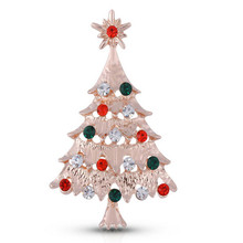 Folk style metal badge with diamonds European and American popular Christmas tree badges k200424