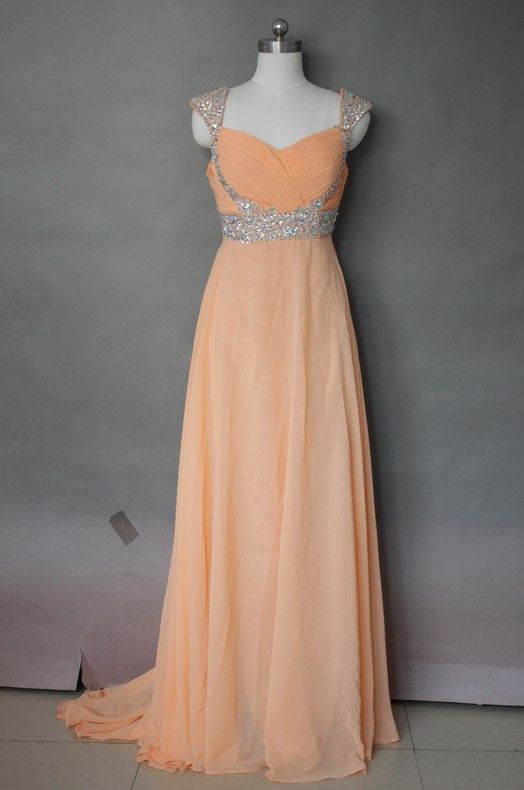 Sexy chiffon spiaggia abito da sposa Arancione in rilievo nero abiti da sposa treno su misura coda D25 # - 2