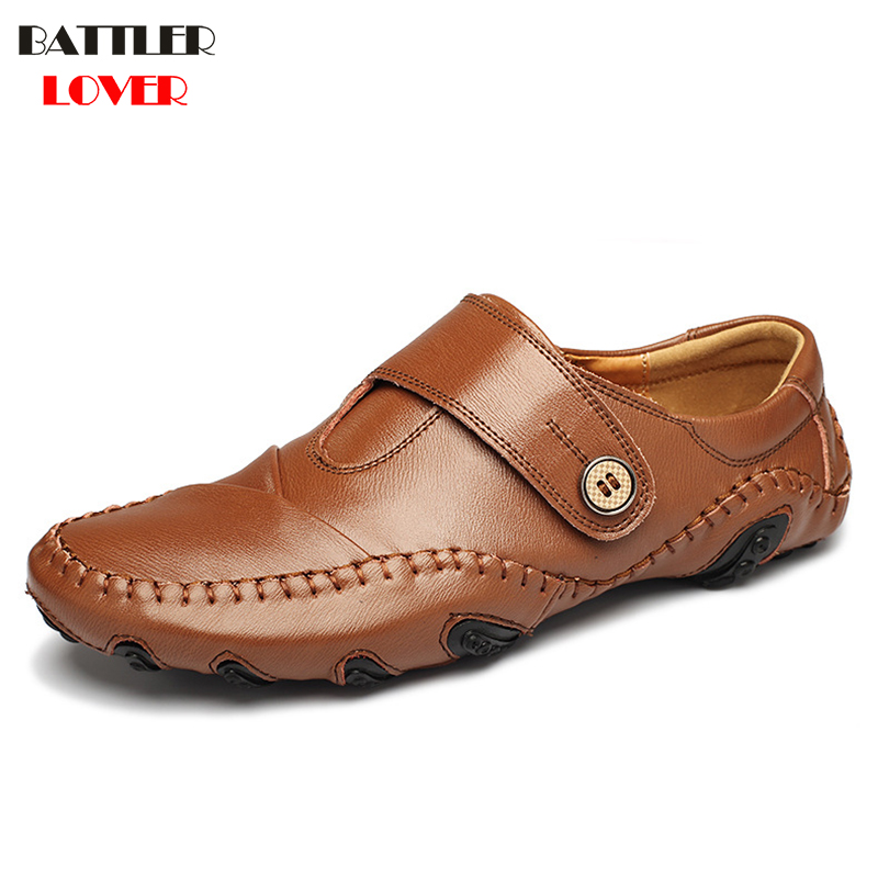 2017New Split Cow Leather Loafers Mens Genuine Leather Flats Shoes Men Casual Driving Shoes Luxury Designer Shoe Plus Size 38-47