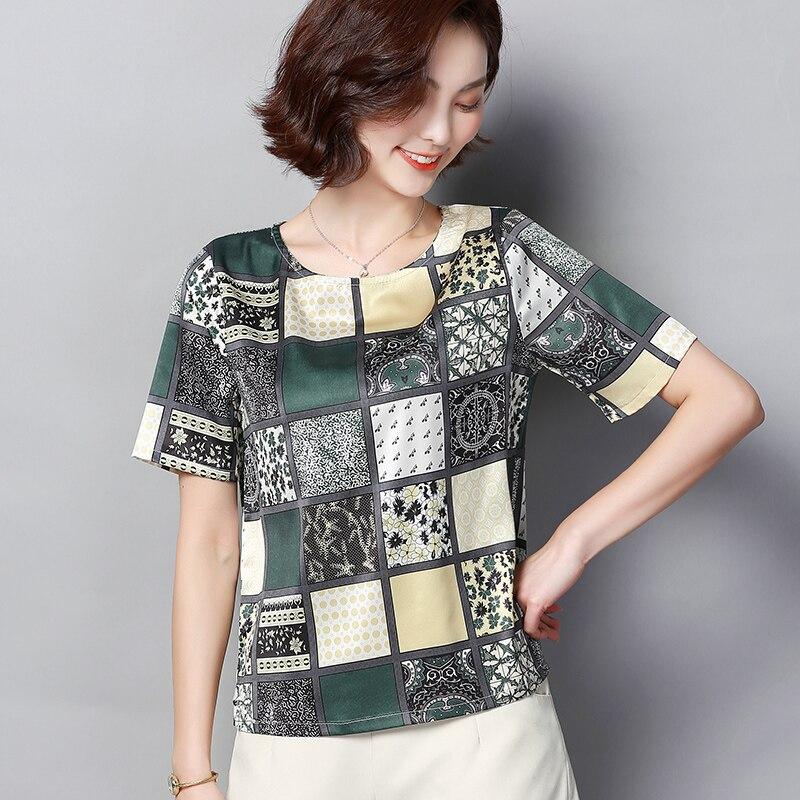 Korean Fashion Silk Women Blouses Satin O Neck Short Sleeve White Women Shirts Plus Size XXXL 4XL Womens Tops and Blouses in Blouses amp Shirts from Women 39 s Clothing