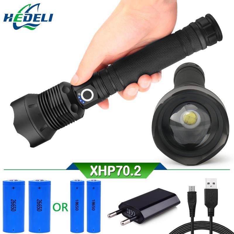 2019 mächtigsten led taschenlampe XLamp xhp70.2 Zoom usb taschenlampe xhp70 jagd taschenlampe xhp5018650 oder 26650 akku