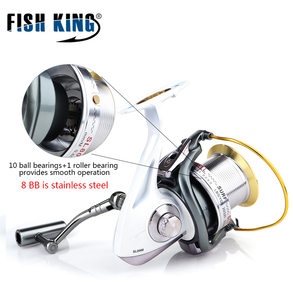 FISH KING Spinning Reel Full Metal Body 18KG Drag Boat Fishing Reel with 11 BBs 4.6:1 Gear Ratio