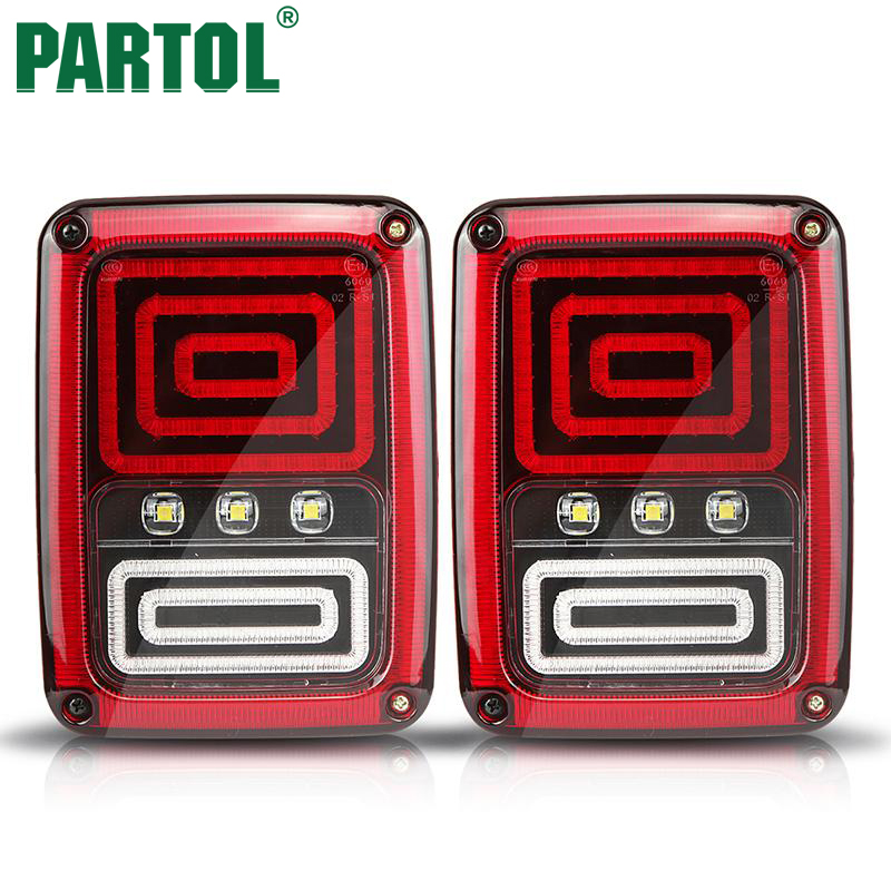 Partol Car LED Running Brake Reverse Backup Rear Tail Light Assembly For Jeep Wrangler Jk 2007 2008 2009 2010 2011 2012-2016 car styling tail lights for toyota highlander 2015 led tail lamp rear trunk lamp cover drl signal brake reverse