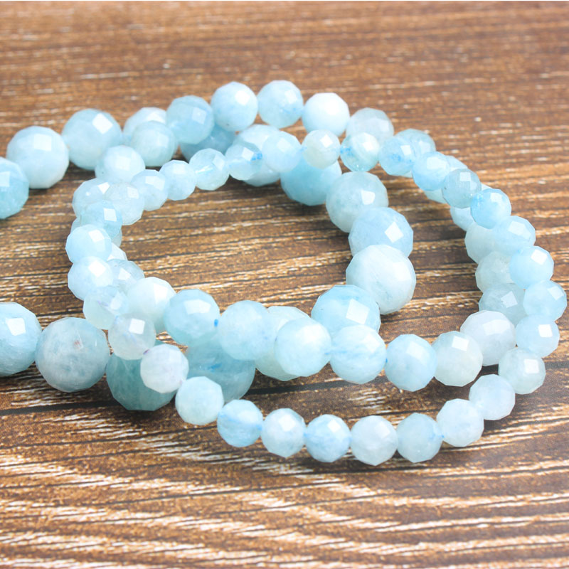 LanLi 6 8 10mm Fashion natural Jewelry faceted top aquamarines beads bracelet be fit for men and women Accessories and amulets in Beads from Jewelry Accessories