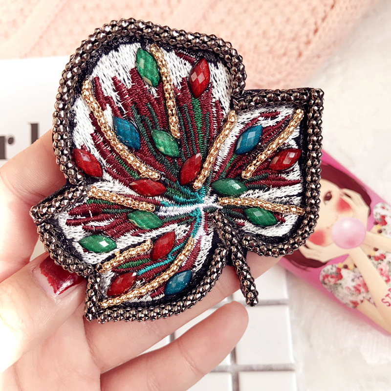 New Trendy Women Fabric Big Leaf Brooches Multicolor Beads Brooch Pin Simple Fashion Clothing Accessories Hot High Quality