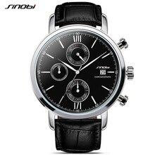 SINOBI Sports Multifunction Men's Wrist Watches Leather Watchband Top Luxury Brand Males Chronograph Quartz Clock Boy Wristwatch