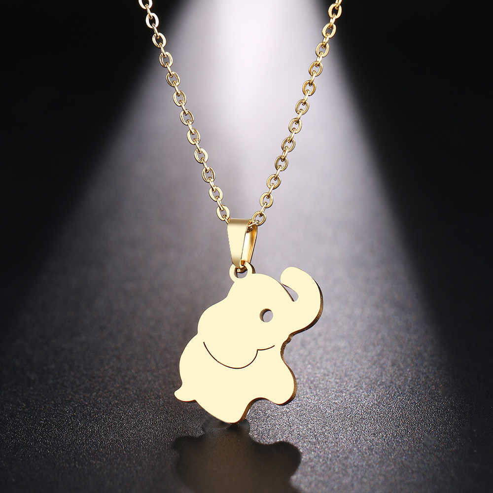 DOTIFI  Stainless Steel Necklace For Women Man Cute Little Elephant Gold And Silver Color Pendant Necklace Engagement Jewelry