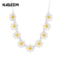 Delicate Daisy Flowers Pendant Necklace For Women Summer Multi Enamel Choker Jewelry Clothes Accessories