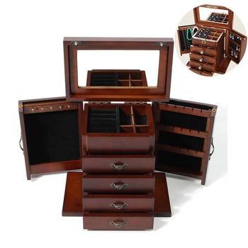 664884bc3 De Madera de grandes joyas Vintage caja de joyería caja de almacenamiento  organizador caja anillo sostenedor