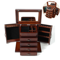 Large Wooden Jewellery Box Vintage Jewelry Storage Box Organizer Display Case Ring Necklace Holder Drawer Multifunction Lockable