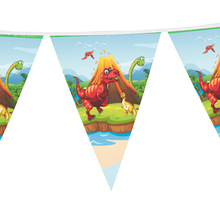12pcs flags 2.7m length Dinosaur theme paper Flag Banner kids favors for birthday party decorative 1 banner