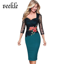 VEEKLE Women Summer Sexy Lace Pencil Office Work Dress Red Green With Floral Embroidery Evening Party