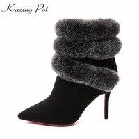 Krazing olla vaca suede cremallera dedo del pie puntiagudo tacones altos de piel de conejo botas de invierno de la boda Europea diseño botines L1f2