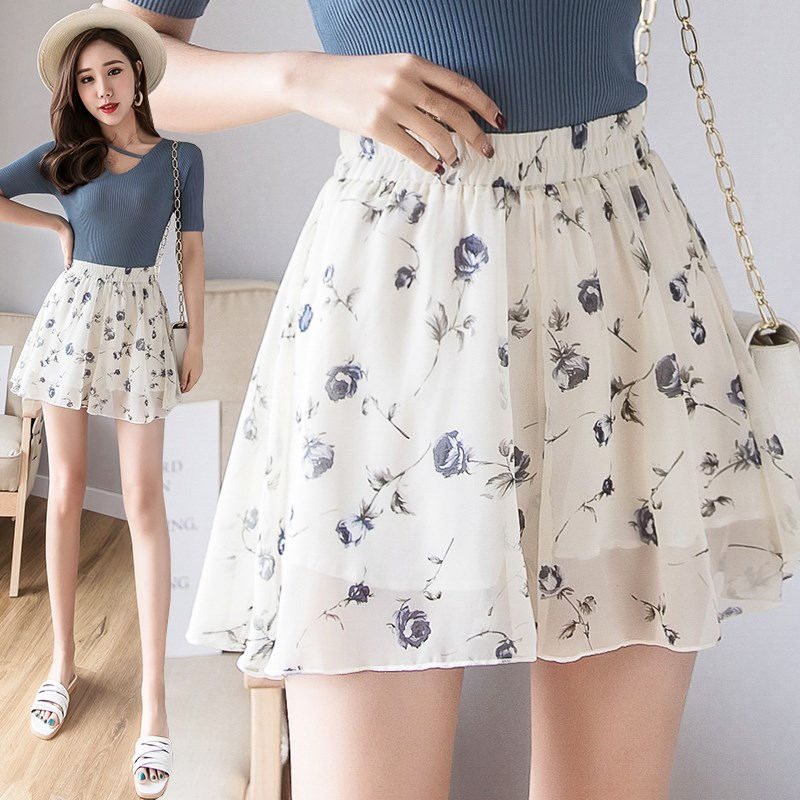 Summer High Waist Skirt Shorts Women Print Chiffon Mini Shorts Sexy Femme Casual Streetwear Wide Leg Ladies Shorts Skirts Q1264