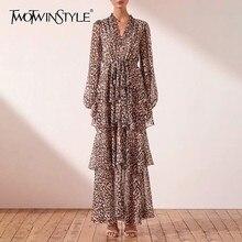 TWOTWINSTYLE Sommer Leopard Kleid Für Frauen V Neck Langarm Hohe Taille Schlank Rüschen Knöchel Länge Kleider Weibliche Mode 2019