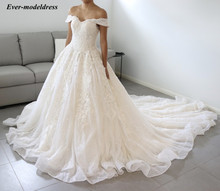 2019 Luxury Wedding Dresses Ball Gown Off Shoulder Lace Appliques Court Train Shiny Bridal Gowns Robe De Mariee Customized lovely tulle ball gown wedding dress 2019 new sweetheart lace appliques off shoulder court train princess church bridal dresses