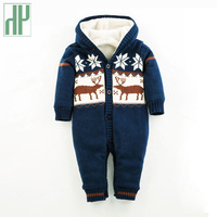 Baby Rompers deer Boys girls jumpsuit Romper Knitted Clothes newborn sweater christmas baby winter snowsuit Hooded Outwear HH