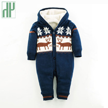 купить Baby Rompers Winter Thick Climbing Clothes Newborn Boys Girls Warm Romper Knitted Sweater christmas baby winter Hooded Outwear  по цене 1916.81 рублей