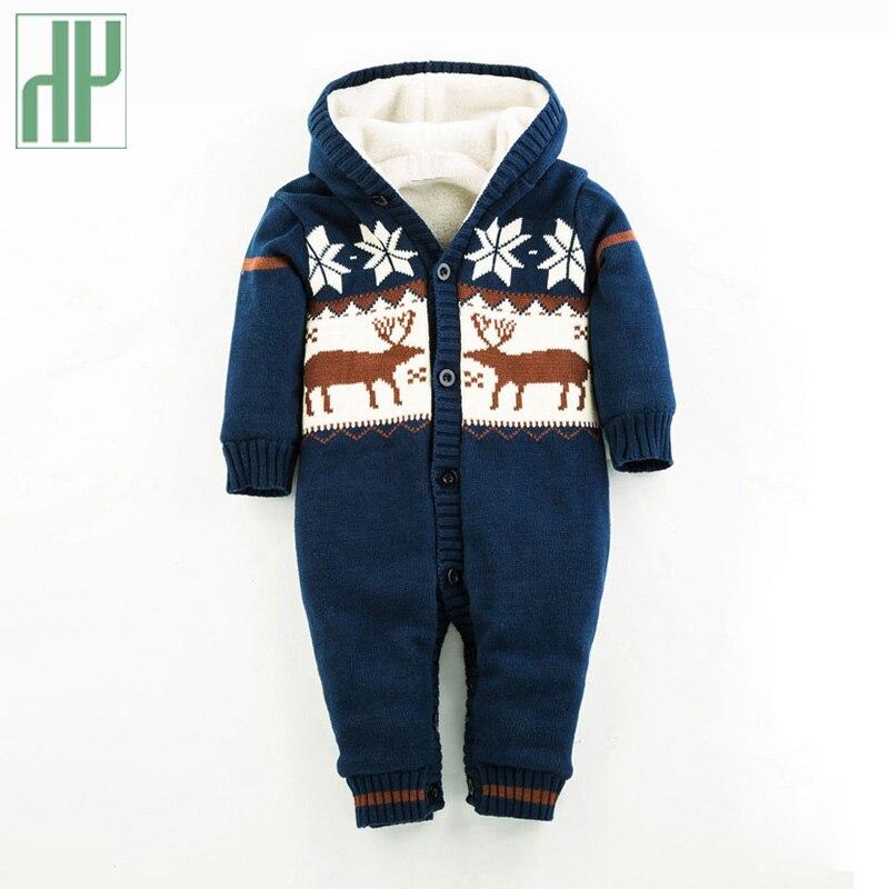Bebé Mamelucos ciervos Niños Girls jumpsuit romper ropa de punto suéter  recién nacido Navidad bebé invierno snowsuit encapuchado Outwear HH 88fed8d888c