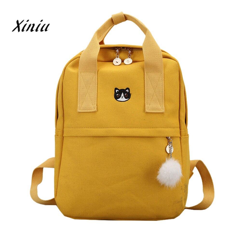 Backpack For School Teenagers Girls Vintage Stylish School Bag Ladies Canvas Fabric Backpack Female Bookbag Mochila