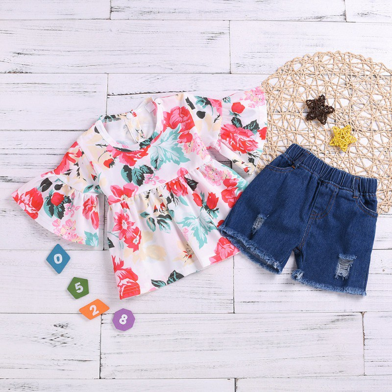 Summer Baby Girls Clothes Casual Flare Sleeve Tops Floral Print T shirt Denim Shorts Suits Costume Set in Clothing Sets from Mother Kids