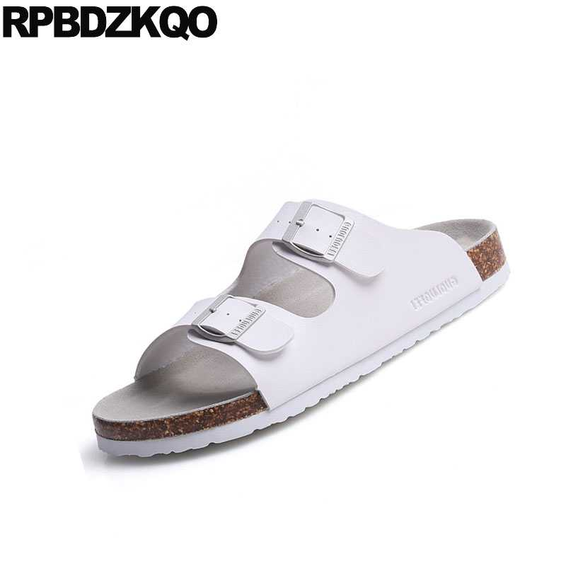 a8c533c6f ... Fashion Shoes Outdoor Slides Plus Size White Waterproof 46 Slip On Flat  Men Sandals Leather Summer ...